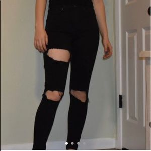 high rise top shop black jeans